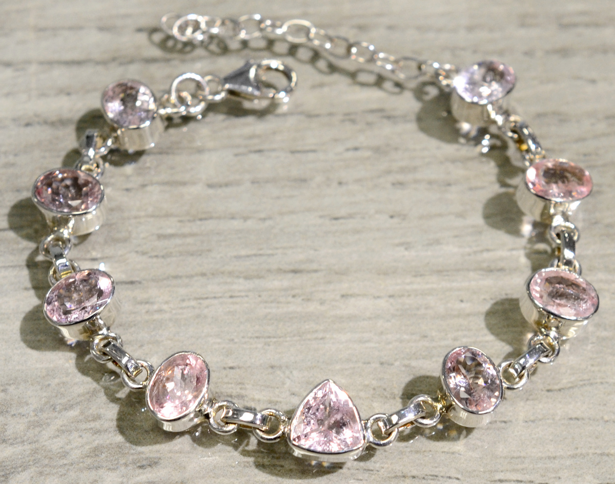 handmade pink morganite and sterling silver bracelet