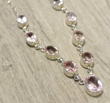Faceted morganite and sterling silver handmade necklace