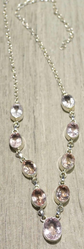 Morganite sterling silver necklace
