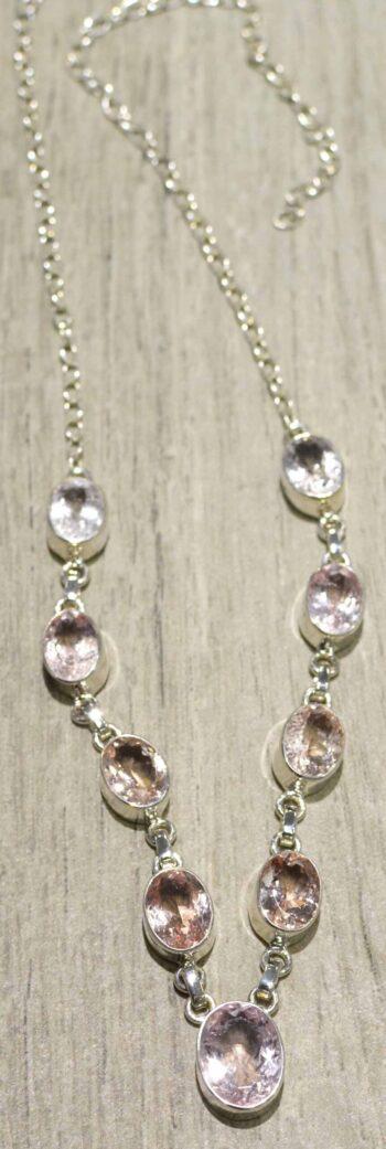 Morganite sterling silver necklace