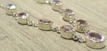 Morganite faceted sterling silver necklace close-up