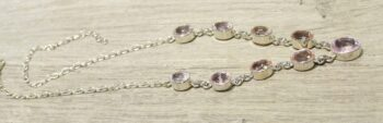Side of morganite and sterling silver necklace