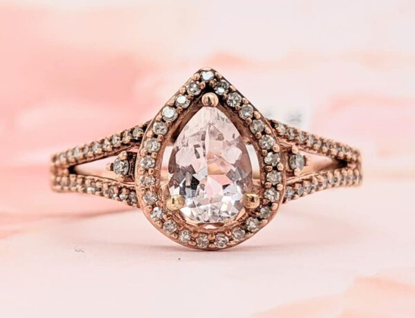 morganite, diamond, and 10K rose gold ring in size 7