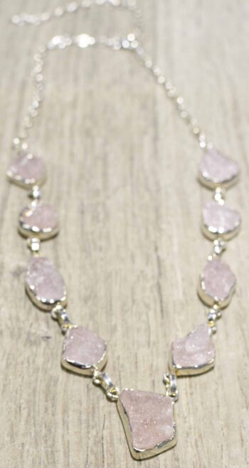 handmade rough morganite druzy + sterling silver necklace
