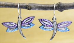 Mosaic Dragonfly mother of pearl shell, crystal, and sterling silver with purple and blue enamel earrings
