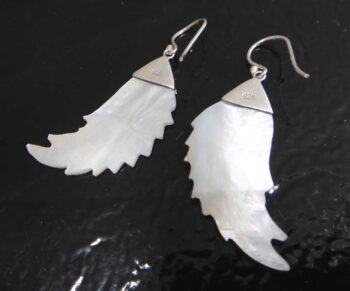 back of mother of pearl wing earrings