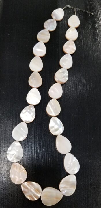 long mother of pearl shell beaded necklace