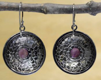 back of handmade amethyst and mosaic mother of pearl earrings