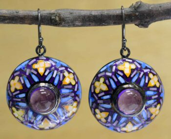 handmade amethyst and mosaic mother of pearl earrings