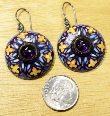 handmade amethyst and mother of pearl earrings with dime for size