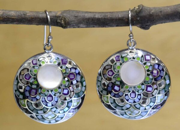 green, purple, blue, mosaic mother of pearl and sterling silver earrings