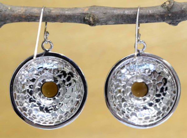 back of smokey quartz and mother of pearl earrings