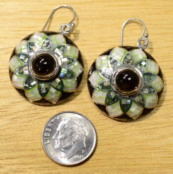 smokey quartz and mosaic mother of pearl earrings with dime for size