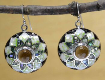 Smokey quartz, mosaic mother of pearl shell and sterling silver earrings