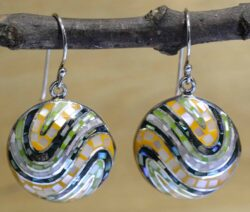green and orange mother of pearl mosaic and sterling silver earrings