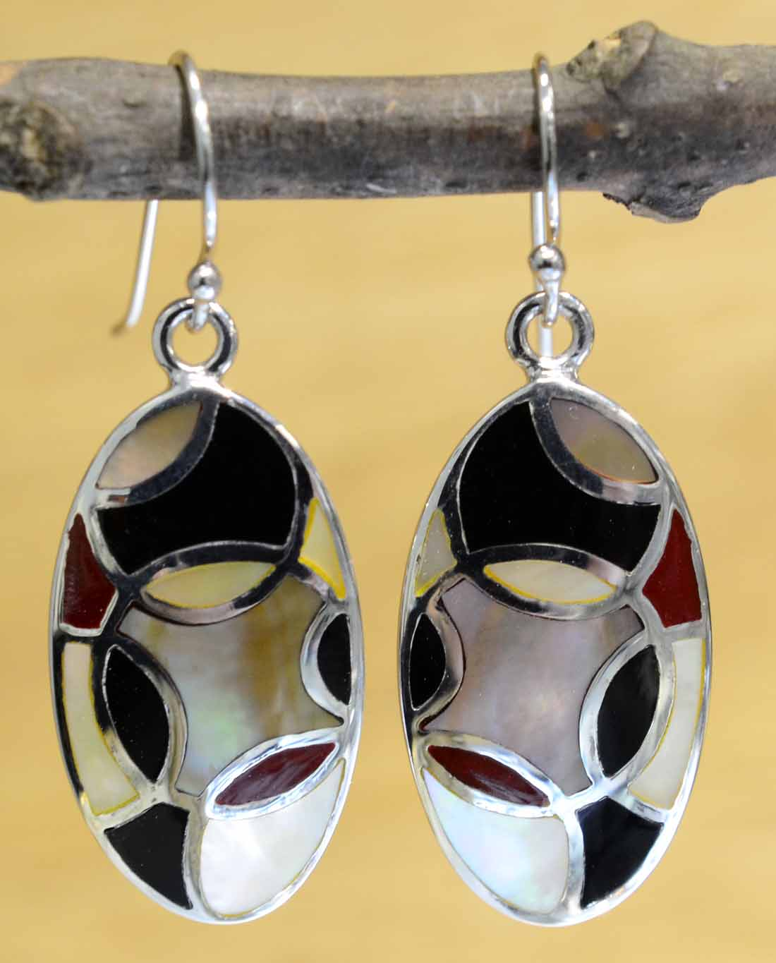 black and red enamel with white mother of pearl mosaic earrings