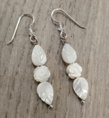 Mother of pearl rose with leaf long sterling silver earrings