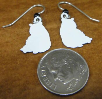 Back of Sienna Sky panda dangle earrings (pictured with dime for scale)
