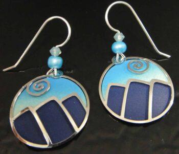 These blue mountain dangle earrings are handmade by Adajio