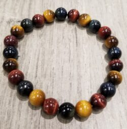 Multi color tiger's eye stone stretch bracelet