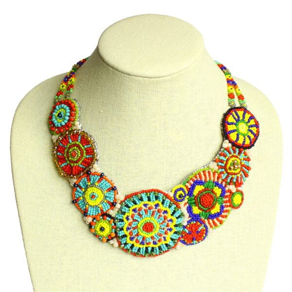 handmade multicolored Czech glass beaded circle design statement necklace