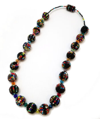 black and multicolor seed bead necklace