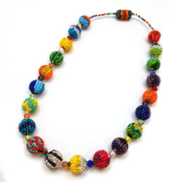 Multicolor art glass seed bead beaded necklace with magnet clasp