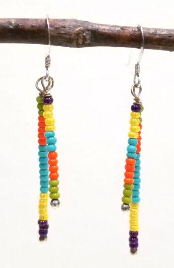 multi color seed bead earrings