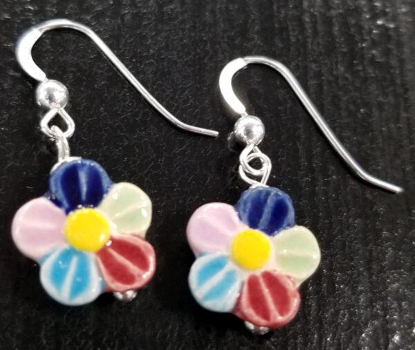 multi-color daisy earrings