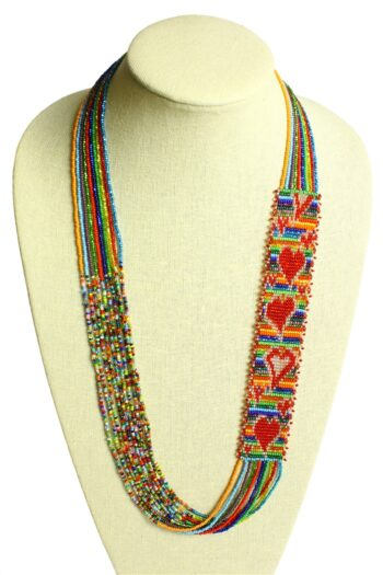 multicolor heart necklace on neck form
