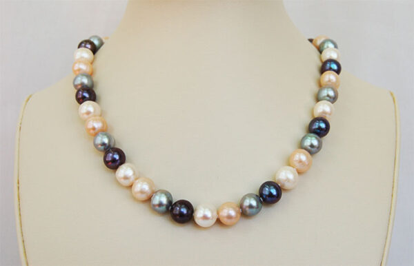 Peacock, silver gray, light peach and white fresh water pearl necklace