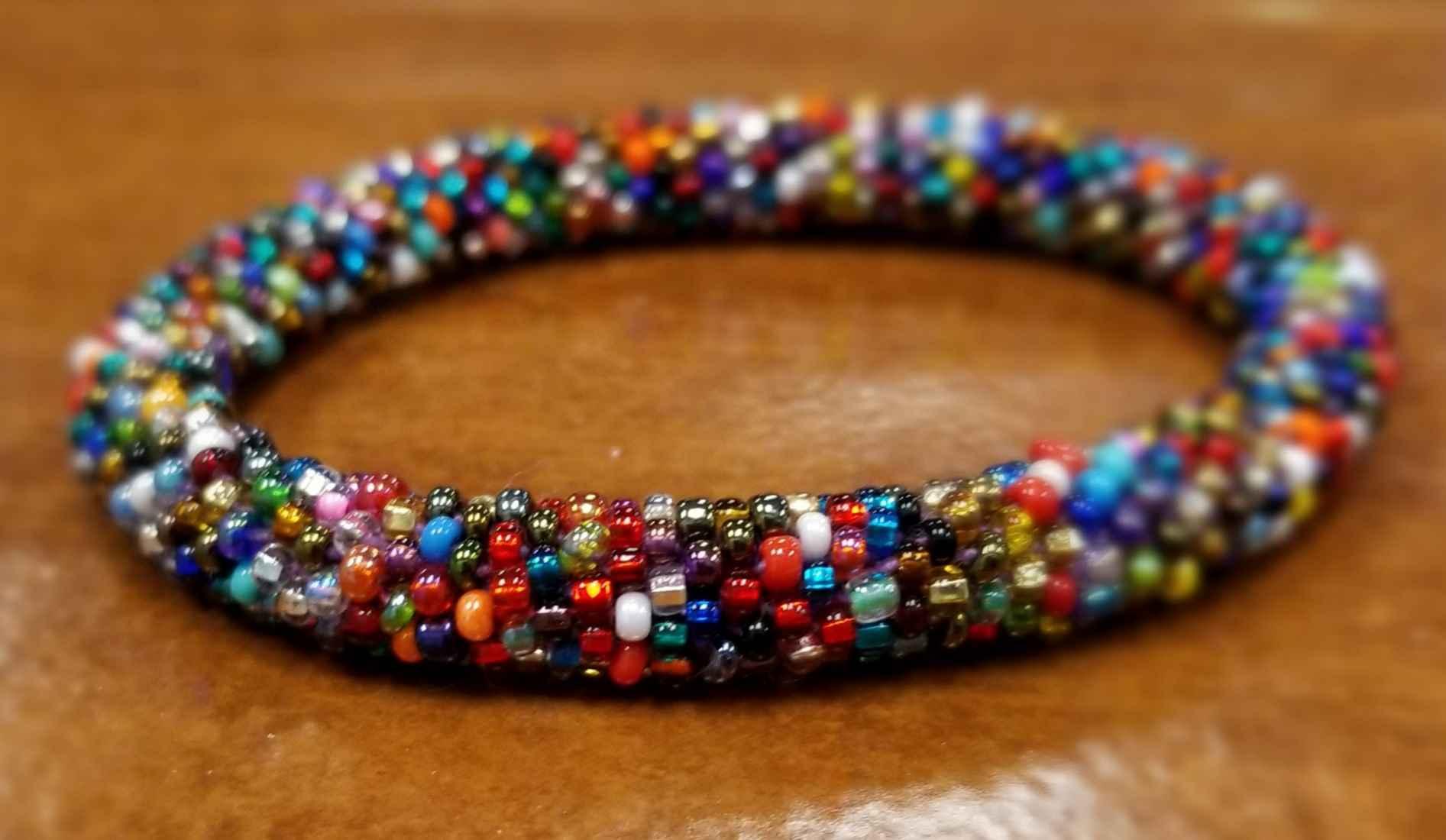 multi-color roll-on Czech glass seed bead bracelet