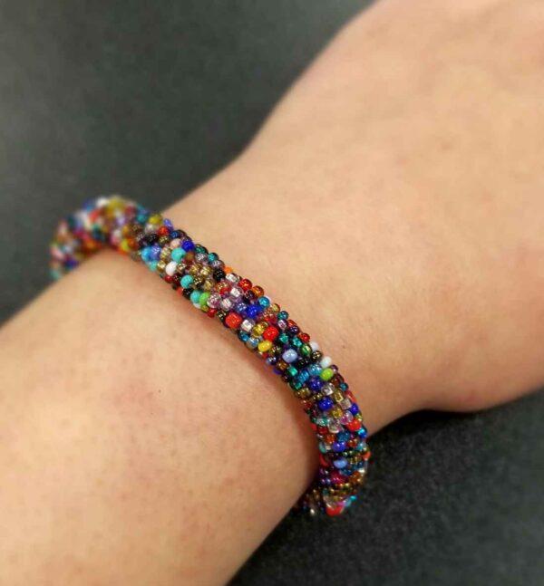 multi-color Czech glass seed bead roll-on bracelet