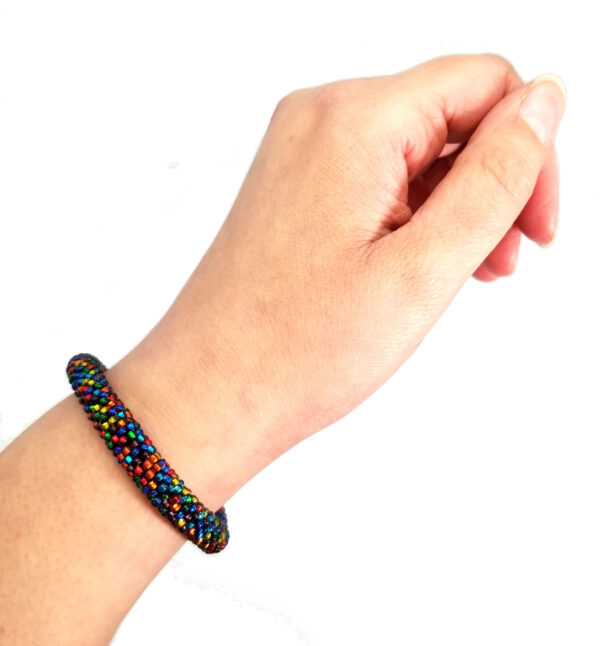 multicolor seed bead bracelet on hand