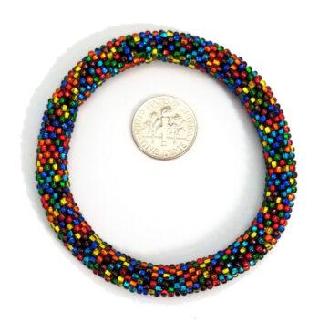 Multicolor roll-on Czech glass seed bead bracelet