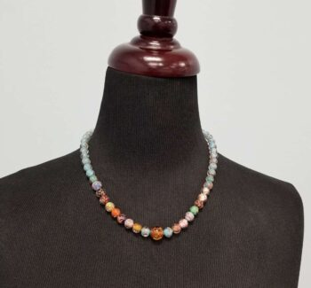Multicolor Murano glass necklace on mannequin