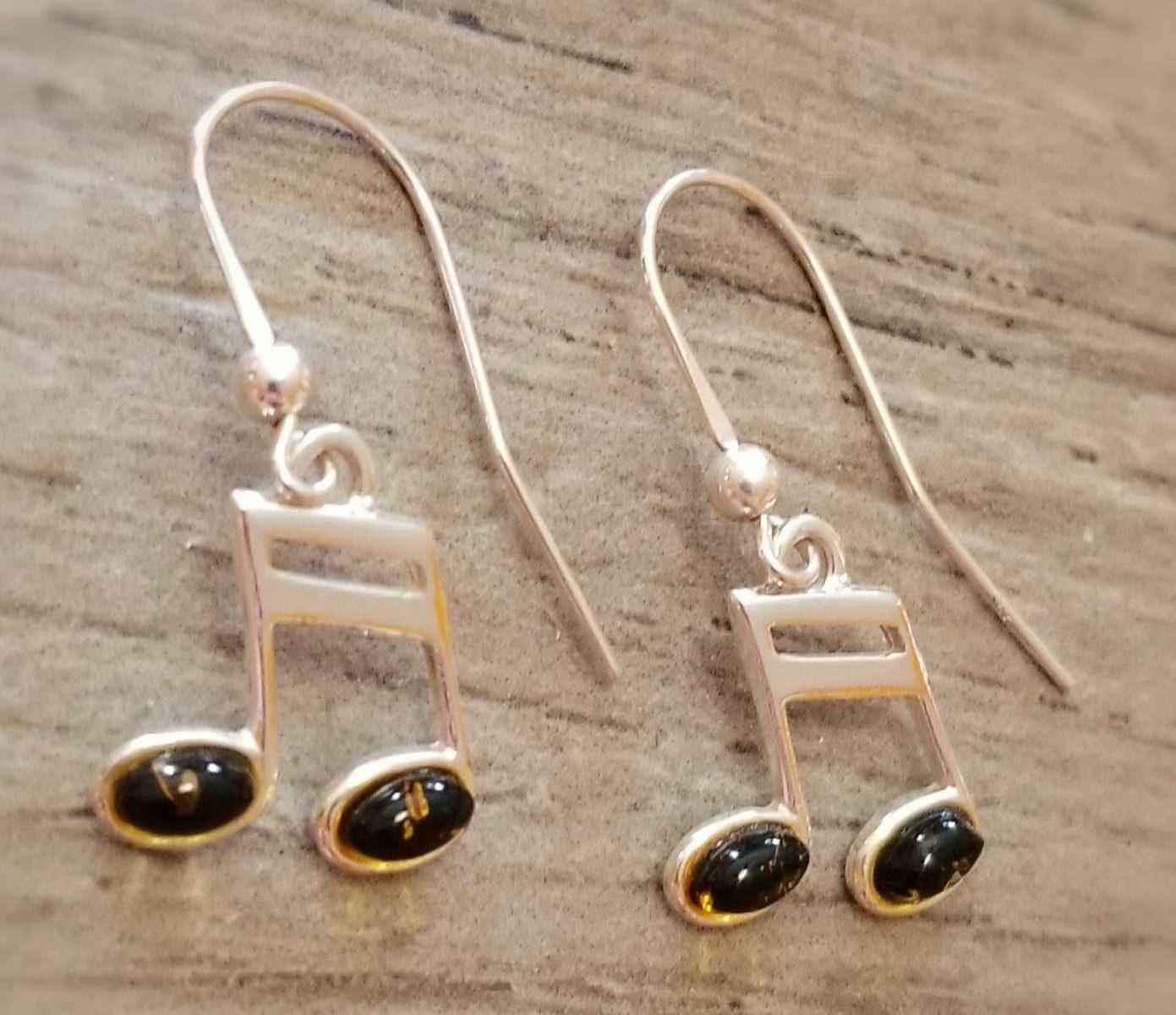 green amber music note sterling silver earrings