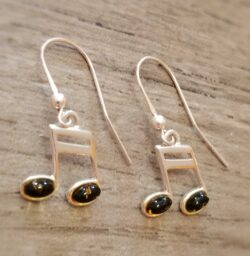 green amber music note sterling silver earrings