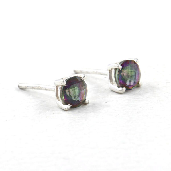 side view of mystic quartz and sterling silver stud earrings