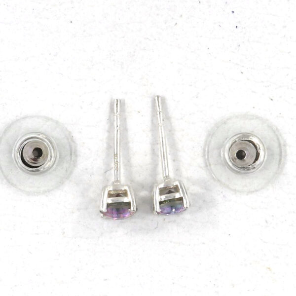 top view of mystic quartz and sterling silver earrings