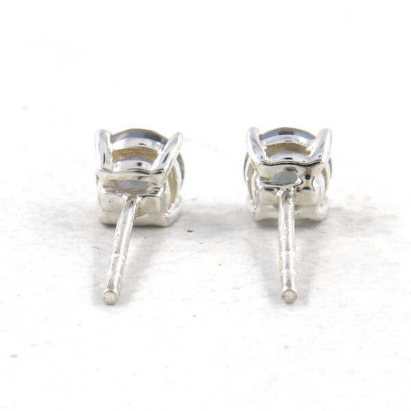 back view of mystic quartz and sterling silver stud earrings