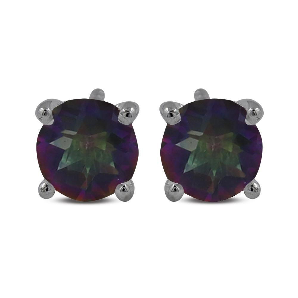 mystic quartz and sterling silver 5MM stud earrings