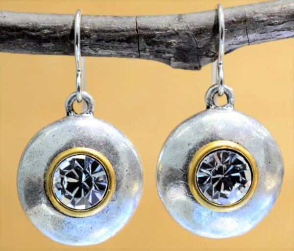 Patricia Locke Near & Far two tone drop earrings in All Crystal