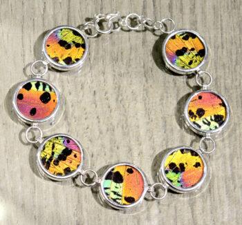 handmade metallic colorful butterfly wing bracelet