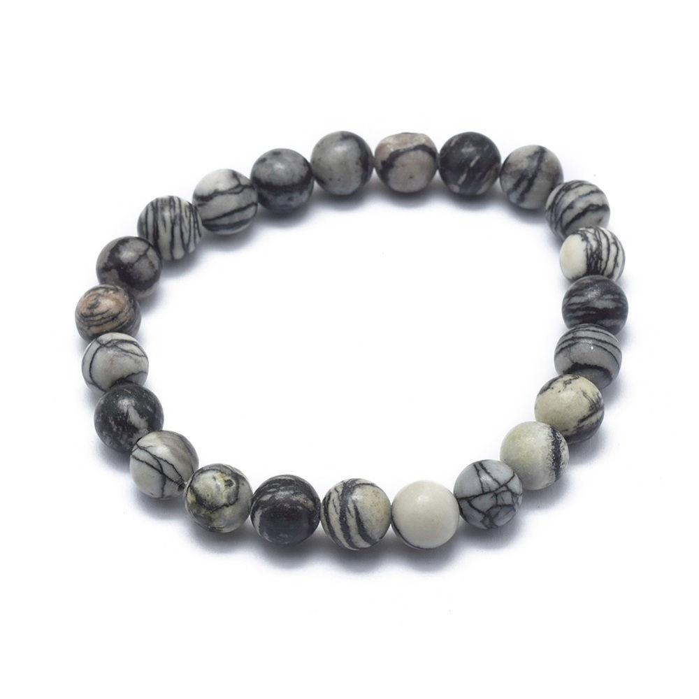 spider web jasper natural stone stretch bracelet