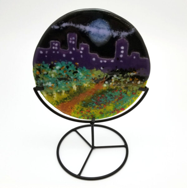 Night cityscape fused art glass decor