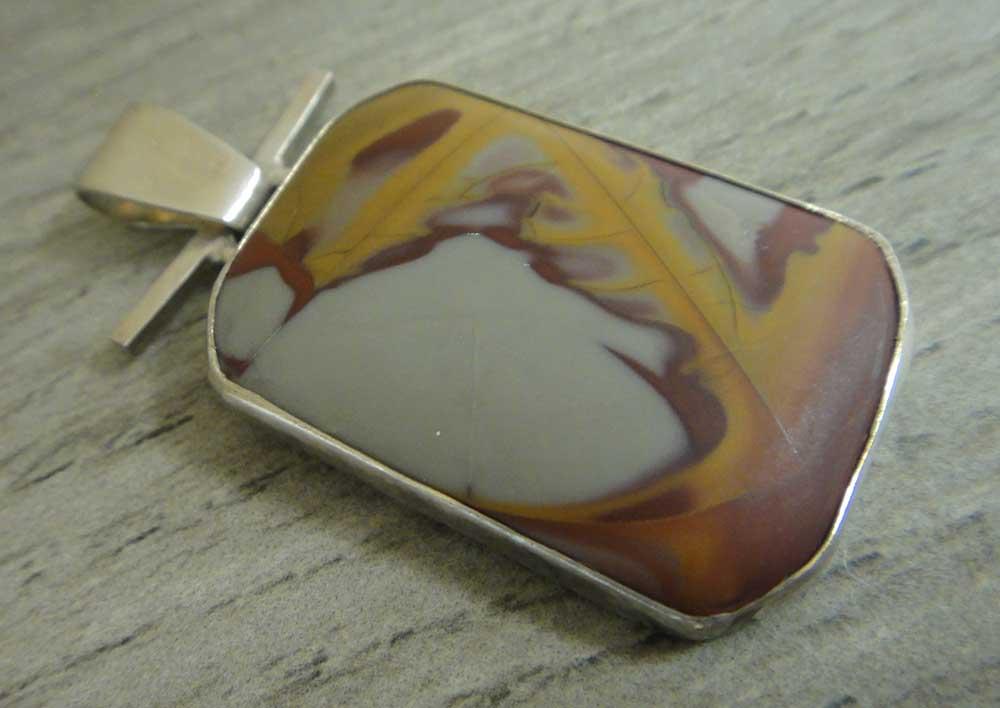 Handmade noreena jasper and sterling silver pendant