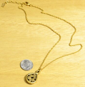 full size of Patricia Locke Now + Forever drop necklace with dime for scale
