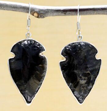 Charles Albert obsidian drop earrings