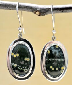 handmade ocean jasper and .925 sterling silver oval earrings